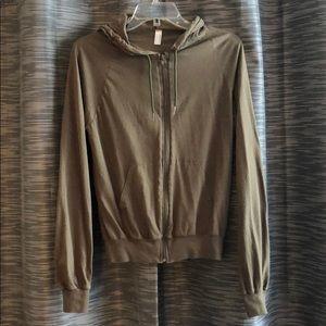 American Apparel olive green zip up hoodie